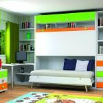 Dormitorios Modulares en blanco y verde cama abierta