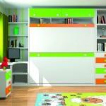 Dormitorios Modulares en blanco y verde camas cerradas
