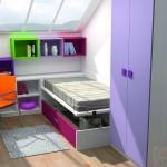 Dormitorios Modulares en blanco y lila cama