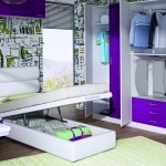 Dormitorios Modulares en morado cama abatible