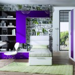Dormitorios Modulares en morado cama y escritorio