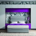 Dormitorios Modulares en morado cama matrimonio
