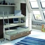 Dormitorios Modulares en marron camas abiertas