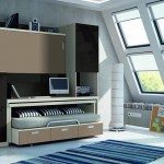 Dormitorios Modulares en marron cama superior cerrada