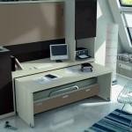 Dormitorios Modulares en marron camas cerradas y escritorio