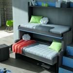 Dormitorios Modulares en gris y azul con camas abiertas