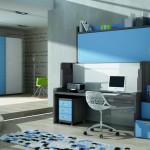 Dormitorios Modulares en gris y azul con cama cerrada y escritorio