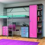 Dormitorios Modulares en azul y rosa con cama abierta,escritorio y armario