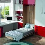 Dormitorios Modulares en blanco y rojo con cama abierta y escritorio