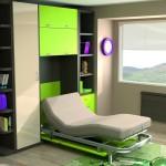 Dormitorios Modulares en blanco y verde lima con cama abierta