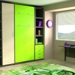 Dormitorios Modulares en blanco y verde lima con cama cerrada
