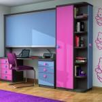 Dormitorios Modulares en azul y rosa con cama cerrada y escritorio