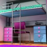 Dormitorios Modulares en azul y rosa con cama abierta y escritorio