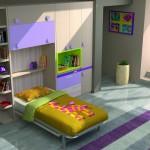 Dormitorios Modulares en blanco y lila con cama abierta