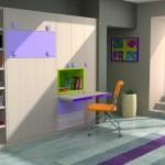 Dormitorios Modulares en blanco y lila con cama cerrada y escritorio