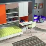Dormitorios Modulares en blanco y naranja con cama abierta y escritorio