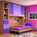 Dormitorios Modulares en lilas con cama abierta