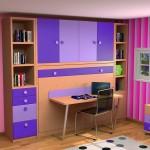 Dormitorios Modulares en lilas con cama cerrada y escritorio