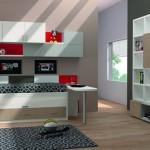 Dormitorios Modulares en blanco con cama