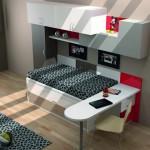 Dormitorios Modulares en blanco con cama y escritorio