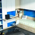 Dormitorios Modulares en blanco y azul con cama y escritorio