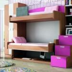 Dormitorios Modulares en madera y magenta con camas