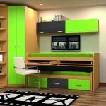 Dormitorios Modulares en verde lima con camas y escritorio