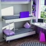 Dormitorios Modulares en blanco y lila camas abiertas