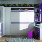 Dormitorios Modulares en blanco y lila camas cerradas