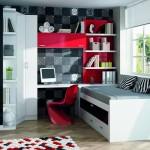 Dormitorios Modulares en blanco y rojo cama y escritorio