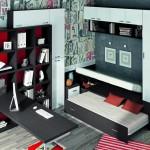 Dormitorios Modulares en marron y rojo cama cerrada y escritorio